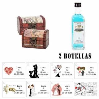 Regalo para invitados boda 2 miniaturas vodka premiumes con baúl