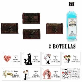 Regalo invitados para boda 1 miniatura vodka premium con baúl