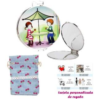 Espejo con sombrilla y niños, con bolsa de saco azul celeste estampada y tarjeta personalizada