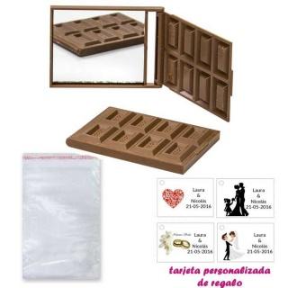 Espejo Tableta de Chocolate, con bolsa básica de celofan, y tarjeta personalizada