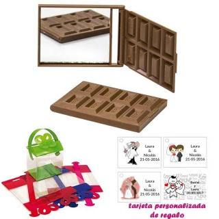 Espejo Tableta de Chocolate, con caja de acetato en varios colores, y tarjeta personalizada