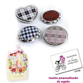 Espejos plateados con cuadros escoceses, con caja de flores, y tarjeta personalizada