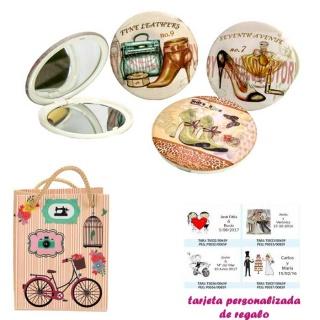 Espejos vintage con zapatos de tacón y bonitos dibujos, con dibujos decorativos y con bicicleta, y tarjeta personalizada