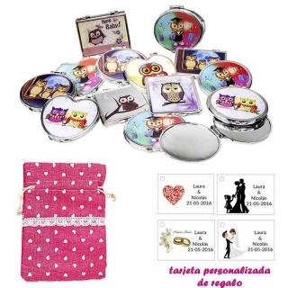 Espejos coloridos con búhos, de diferentes formas, con bolsa de saco rosa estampada y tarjeta personalizada