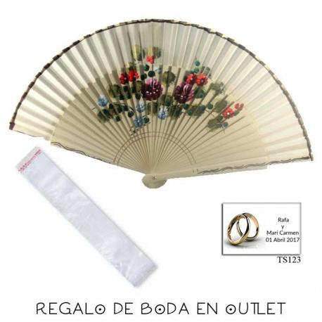 Pack de abanico beige con flores y filo dorado, con bolsa y pegatina