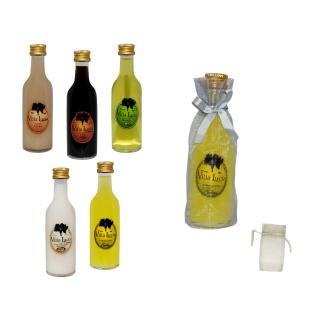 Botella de licor sol en bolsa tull para detalles de boda