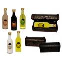 Botella de licor sol en baúl de madera para detalles de boda