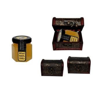 Bote de miel en baúl de madera para detalles de boda 60gr