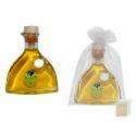 Botella de aceite virgen extra con bolsa para regalo de boda