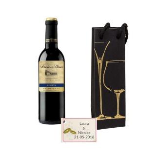 Vino Reserva en caja con tarjeta detalle boda 375ml