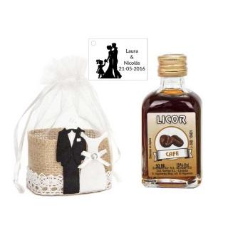 Pack regalo boda licor de café decorado