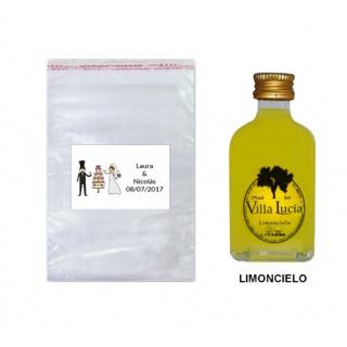 Licor Limoncielo en bolsa de celofán y con tarjeta