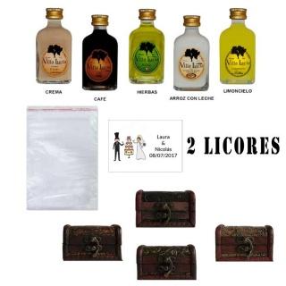 Pack boda 2 licores con baúl bolsa de celofán y tarjeta