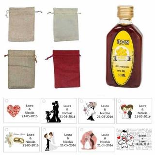 Lote GIN Ron Miel 50ml con bolsa de saco y tarjeta