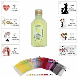 Licor de crema de limón 50ml con bolsa de organza y tarjeta