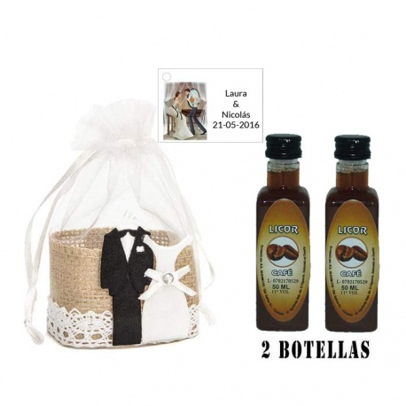 Licor Café en cesta de mimbre y tarjeta