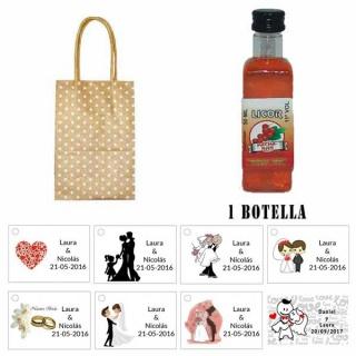 Licor Pacharán en bolsa asa de cartón y tarjeta