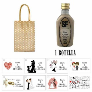Licor Crema en bolsa asa de cartón y tarjeta