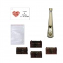 Licor Crema en baúl de madera, bolsa de celofan y tarjeta