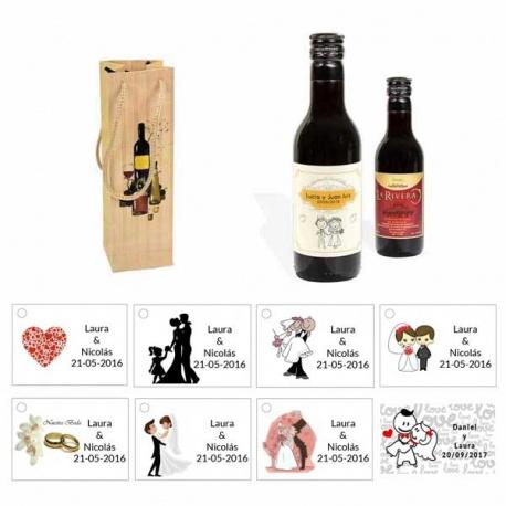 Tinto boda personalizado con caja original y tarjeta