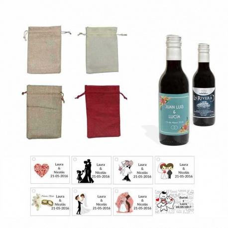 Tinto invitados boda personalizado con tarjeta y bolsa saco