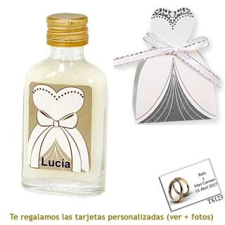 Licor de crema 20 ml con etiqueta de novia y una original caja a juego