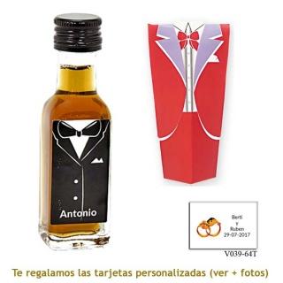 Licor de café 20 ml con etiqueta de novio y caja con traje rojo de novio
