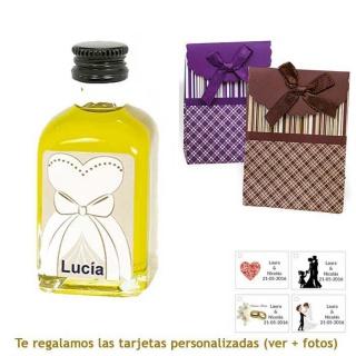 Botellita de Aceite de Oliva con etiqueta de novia y bolsa surtida de rayas y cuadros