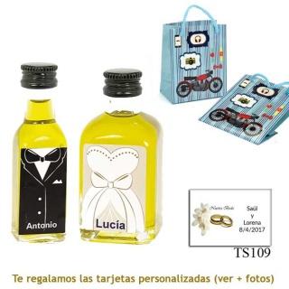 Botellitas de Aceite de Oliva para regalar en boda, en bolsa con moto