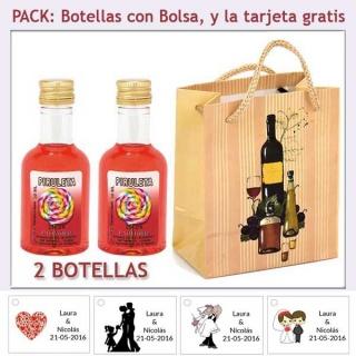 2 Botellitas de Licor de Piruleta con bolsa y tarjeta
