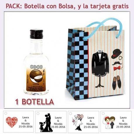 Botellita de Licor de Coco con bolsa y tarjeta