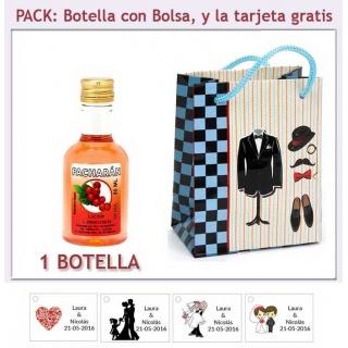 Botellita de Licor de Pacharán con bolsa y tarjeta