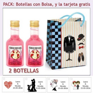 2 Botellitas de Licor de Fresas con Nata con bolsa y tarjeta
