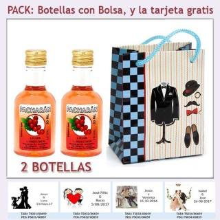 2 Botellitas de Licor de Pacharán con bolsa y tarjeta