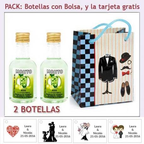 2 Botellitas de Ron Mojito con bolsa y tarjeta