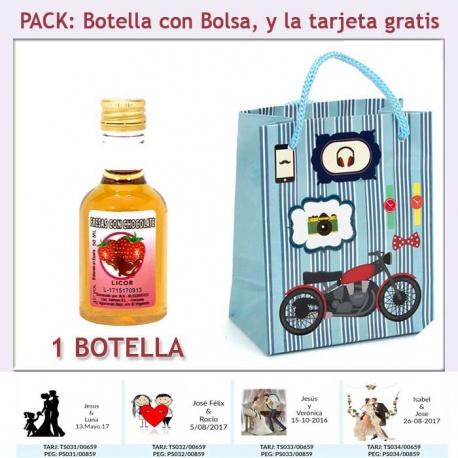 Botellita de Licor de Fresas con Chocolate con bolsa y tarjeta