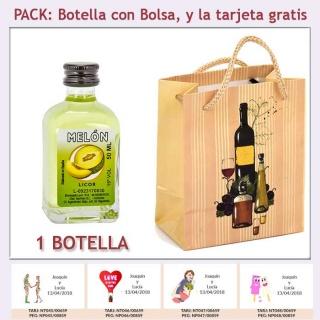 """Botellita de Licor de Melón con bolsa """"bodegón"""" y tarjeta"""