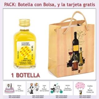 """Botellita de Ron Miel con bolsa """"bodegón"""" y tarjeta"""
