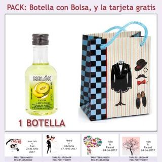 "Botellita de Licor de Melón con bolsa ""charlestón"" y tarjeta"