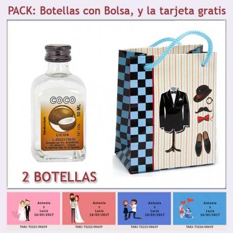 "Botellita de Licor de Coco con bolsa ""charlestón"" y tarjeta"
