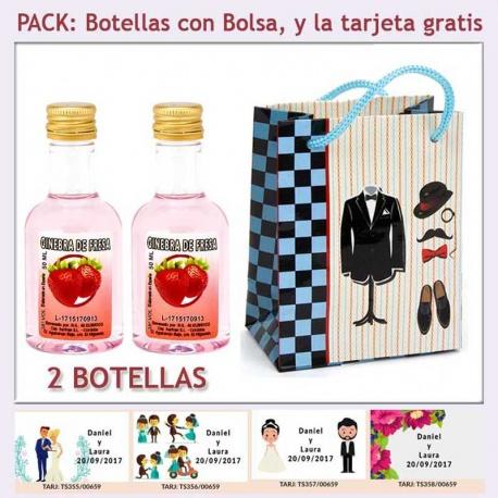 """2 Botellitas de Ginebra de Fresa con bolsa """"charlestón"""" y tarjeta"""