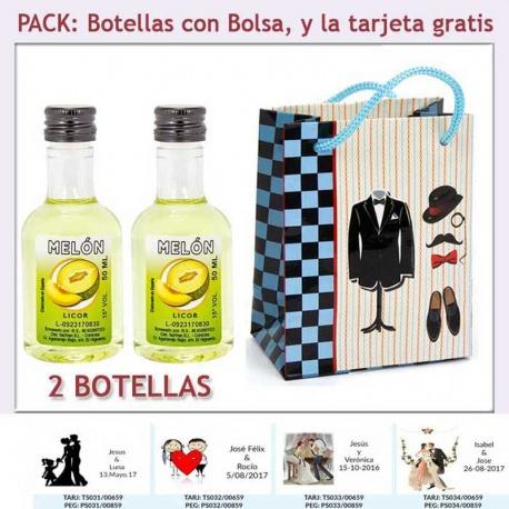 """2 Botellitas de Licor de Melón con bolsa """"charlestón"""" y tarjeta"""