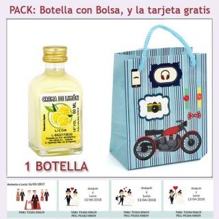 Botellita de Crema de Limón con bolsa con moto roja y tarjeta