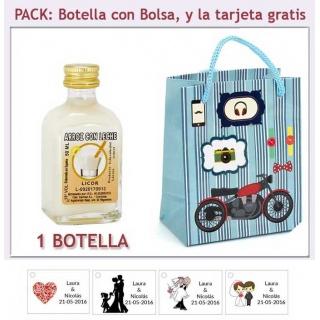 Botellita de Licor de Arroz con Leche con bolsa con moto roja y tarjeta