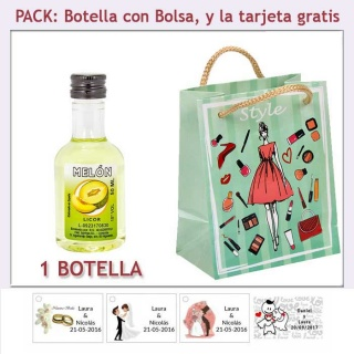 Botellita de Licor de Melón con bolsa fashion con mujer y tarjeta