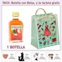 Botellita de Pacharán con bolsa fashion con mujer y tarjeta