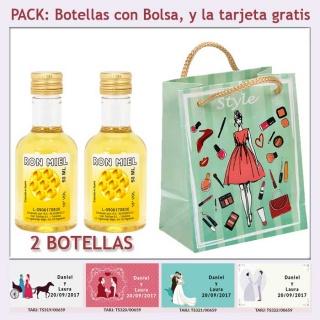 2 Botellitas de Ron Miel con bolsa fashion con mujer y tarjeta