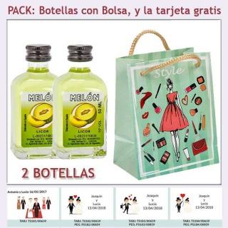 2 Botellitas de Licor de Melón con bolsa fashion con mujer y tarjeta
