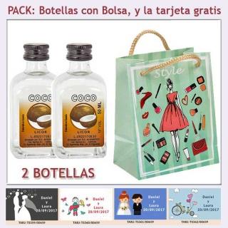 2 Botellitas de Licor de Coco con bolsa fashion con mujer y tarjeta