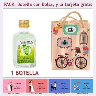 Botellita de Ron Mojito con bolsa vintage con bicicleta y tarjeta